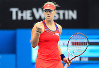 Angelique Kerber of Germany after winning a point against Madison Keys of U.S. during their semi-final match at the Sydney International tennis tournament, Jan. 9, 2014.  Daniel Munoz/Viewpress IMAGE RESTRICTED TO EDITORIAL USE ONLY