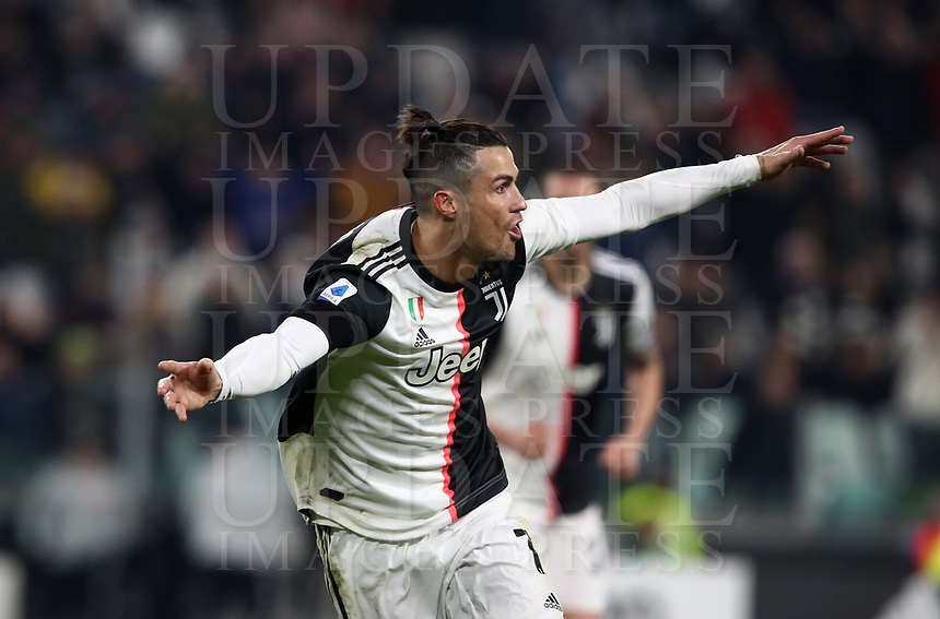 Calcio, Serie A: Juventus - Parma, Turin, Allianz Stadium, January 19, 2020.<br /> Juventus' Cristiano Ronaldo celebrates after scoring his first goal in the match during the Italian Serie A football match between Juventus and Parma at the Allianz stadium in Turin, January 19, 2020.<br /> UPDATE IMAGES PRESS/Isabella Bonotto