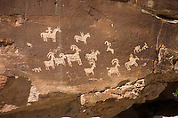 Petroglyphs near Wolfe Ranch in Arches National Park.<br /> <br /> Indians from the Ute and/or Paiute cultures<br /> never inhabited this area on a year-round basis, though for centuries they roamed<br /> Salt Valley searching for wild game such as<br /> bighorn sheep and plants that were either<br /> Ranch<br /> edible, medicinal, or could be used to make<br /> dye. Perhaps on food-gathering trips they<br /> discovered the abundant supply of chert,<br /> which they used to make tools. Utes camped<br /> nearby during Wolfe&rsquo;s stay here and traded<br /> handmade blankets for garden produce and<br /> meat. The petroglyphs you see chipped into<br /> the sandstone are the most conspicuous<br /> evidence of American Indian life in the area.<br /> The fi gures on horseback show us that this<br /> rock art was created after the mid 1600s when<br /> the native people in this area acquired horses.