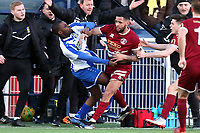 Tempers frey as Frazer Shaw of Chelmsford City hits out at Alex Akrofi of Aveley during Aveley vs Chelmsford City, Buildbase FA Trophy Football at Parkside on 8th February 2020