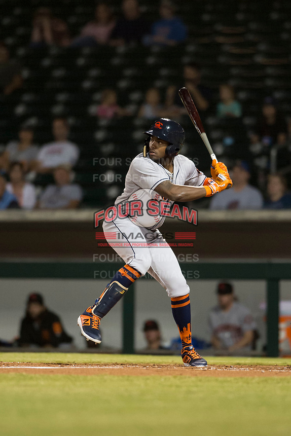 Scottsdale Scorpions center fielder Ronnie Dawson (4), of the Houston Astros organization, at bat during an Arizona Fall League game against the Mesa Solar Sox at Sloan Park on October 10, 2018 in Mesa, Arizona. Scottsdale defeated Mesa 10-3. (Zachary Lucy/Four Seam Images)