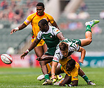 Zimbabwe vs Guyana during their HSBC Sevens Wold Series Qualifier match as part of the Cathay Pacific / HSBC Hong Kong Sevens at the Hong Kong Stadium on 27 March 2015 in Hong Kong, China. Photo by Xaume Olleros / Power Sport Images