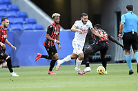 4th July 2020; Lyon, France; French League 1 friendly due to the Covid-19 pandemic forced league ending;  Rayan Cherki (lyon) and Jean-Victor Makengo (nice)