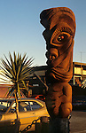 Tiki figure at restaurant on Pacific Coast Highway in Malibu, CA