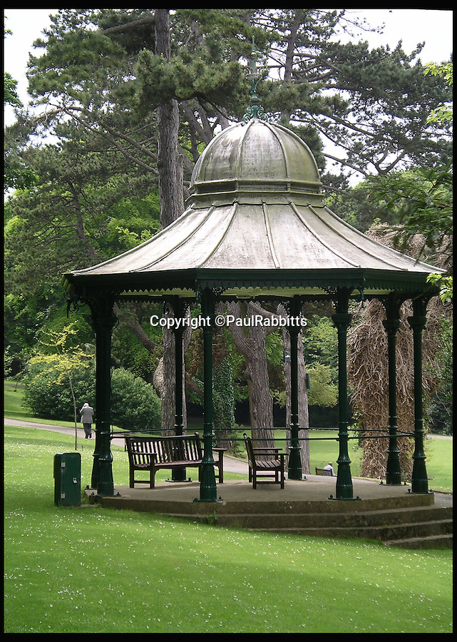 BNPS.co.uk (01202 558833)<br /> Pic: PaulRabbitts/BNPS<br /> <br /> ***Please Use Full Byline***<br /> <br /> The bandstand in Ventor Park, Ventor, the stand still exists today and was built in 1887.<br /> <br /> A landscape gardener is trumpeting the great British creation of the bandstand after touring the country's parks to study the iconic structures for a new book.<br /> <br /> Paul Rabbitts' work is a celebration of the Victorian platforms and a throwback to the halycon days of outdoor music when thousands of people would gather in public parks for a brass band performance.