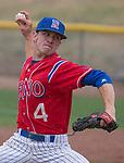 Reno's Brenton Thomas throws against Manogue in the NIAA 4A Northern Regional Baseball Championship at Galena High School in Reno, Nevada on Saturday, May 12, 2018.