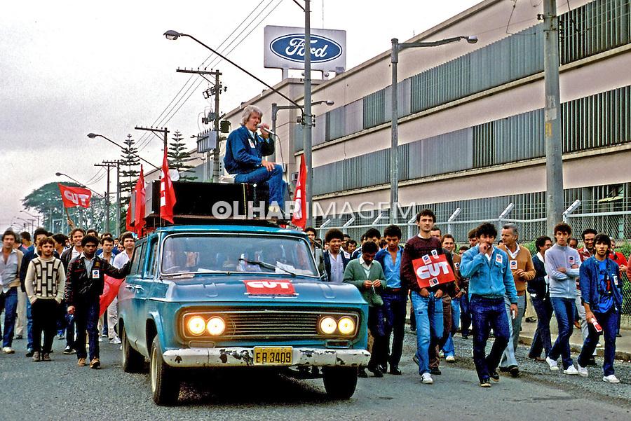 Piquete de metalúrgicos do ABC durante greve na Ford. São Bernardo. São Paulo. 1985. Foto de Cynthia Brito.