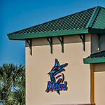 28 February 2019: The new Miami Marlins is displayed for the first time on a building at their Spring Training facility at Roger Dean Stadium in Jupiter, Florida. Mandatory Credit: Ed Wolfstein Photo *** RAW (NEF) Image File Available ***