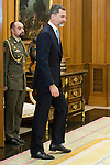King Felipe VI of Spain during meeting with president of Argentinian Republic, Sr. Mauricio Macri and Sra Juliana Awada at Real Palace in Madrid, Spain. February 19, 2017. (ALTERPHOTOS/BorjaB.Hojas)