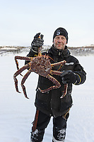 Arctic Circle, Norway, Kirkenes, Snow Hotel. King crab ice fishing.