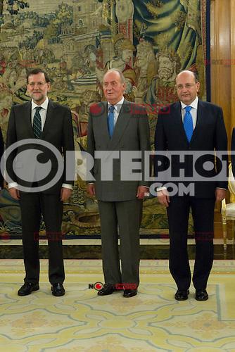 30.07.2012. King Juan Carlos I of Spain attends the promise of the President of the Court of Auditors, Ramon Alvarez de Miranda Garcia, at the Royal Palace of La Zarzuela. In the image Mariano Rajoy Brey, President of governancy., King Juan Carlos I, and Ram&oacute;n &Aacute;lvarez de Miranda Garc&iacute;a  (Alterphotos/Marta Gonzalez) *NortePhoto.com<br /> <br />  **CREDITO*OBLIGATORIO** *No*Venta*A*Terceros*<br /> *No*Sale*So*third* ***No*Se*Permite*Hacer Archivo***No*Sale*So*third*&Acirc;&copy;Imagenes*con derechos*de*autor&Acirc;&copy;todos*reservados*.