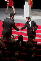 Spain's crown Prince Felipe shakes hands with actor Antonio Banderas during the ceremony to designate ambassadors of the Brand Spain. February 12, 2013. (ALTERPHOTOS/Alvaro Hernandez) /NortePhoto
