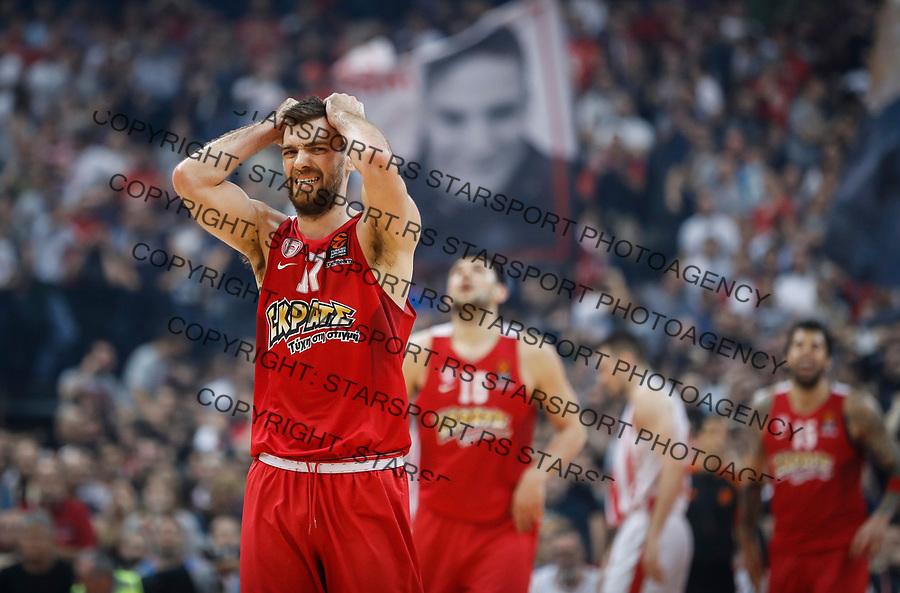 Kosarka Euroleague season 2016-2017<br /> Crvena Zvezda v Olympiacos (Athens)<br /> Vangelis Mantzaris (L) reacts<br /> Beograd, 22.03.2017.<br /> foto: Srdjan Stevanovic/Starsportphoto &copy;