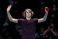 Alexander Zverev celebrates after winning his match against Marin Cilic <br /> <br /> Photographer Rob Newell/CameraSport<br /> <br /> International Tennis - Barclays ATP World Tour Finals - O2 Arena - London - Day 1 - Sunday 12th November 2017<br /> <br /> World Copyright &copy; 2017 CameraSport. All rights reserved. 43 Linden Ave. Countesthorpe. Leicester. England. LE8 5PG - Tel: +44 (0) 116 277 4147 - admin@camerasport.com - www.camerasport.com