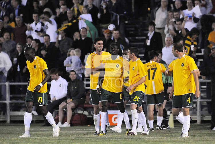 AC St Louis players celebrate Anthony O'Garra's game tying goal. This was the first goal scored in franchise history...AC St Louis were defeated 1-2 by Austin Aztek in their inaugural home game in front of 5,695 fans at Anheuser-Busch Soccer Park, Fenton, Missouri.