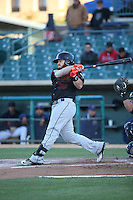 Tyler Marlette (30) of the Bakersfield Blaze bats against the Lancaster JetHawks at The Hanger on April 28, 2016 in Lancaster, California. Lancaster defeated Bakersfield, 5-4. (Larry Goren/Four Seam Images)
