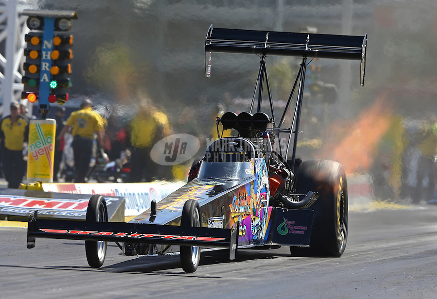 Mar 28, 2014; Las Vegas, NV, USA; NHRA top fuel dragster driver Steve Chrisman during qualifying for the Summitracing.com Nationals at The Strip at Las Vegas Motor Speedway. Mandatory Credit: Mark J. Rebilas-