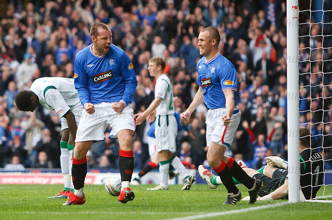 Kris Boyd roars his delight at Kenny Miller after scoring for Rangers