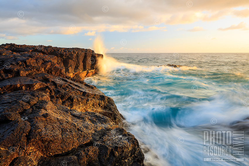 Morning light graces the coastline with gentle pastels and a refreshing splash of ocean, Lumaha'i Tourist Beach, Kaua'i.