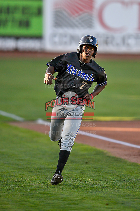 Jasrado Chisholm (7) of the Missoula Osprey during the game against the Ogden Raptors in Pioneer League action at Lindquist Field on July 13, 2016 in Ogden, Utah. Ogden defeated Missoula 8-2. (Stephen Smith/Four Seam Images)