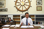 Nevada Gov. Brian Sandoval talks from his office at the Capitol in Carson City, Nev., on Friday, April 17, 2015.<br /> Photo by Cathleen Allison