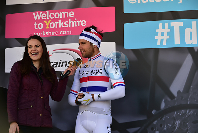 British National Champion Adam Blythe (GBR) Aqua Blue Sport at sign on before the start of Stage 1 of the Tour de Yorkshire 2017 running 174km from Bridlington to Scarborough, England. 28th April 2017. <br /> Picture: ASO/P.Ballet | Cyclefile<br /> <br /> <br /> All photos usage must carry mandatory copyright credit (&copy; Cyclefile | ASO/P.Ballet)
