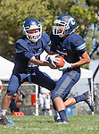 Palos Verdes, CA 09/24/16 - Alex Rosso (Chadwick #12) and unidentified Chadwick player(s) in action during the non-conference CIF 8-Man Football  game between Rolling Hills Prep and Chadwick at Chadwick.