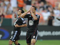 DC United forward Charlie Davies (9) after missing a penalty Kick in the first half.  New England Revolution defeated DC United 1-0,at RFK Stadium, Wednesday July 20, 2011.