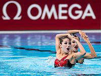 JANG Hyon Ok, MIN Hae Yon PRK <br /> Synchronised swimming , Synchro<br /> Day 01 14/07/2017 <br /> XVII FINA World Championships Aquatics<br /> City Park - Varosliget Lake<br /> Budapest Hungary  <br /> Photo @ G.Scala/Deepbluemedia/Insidefoto