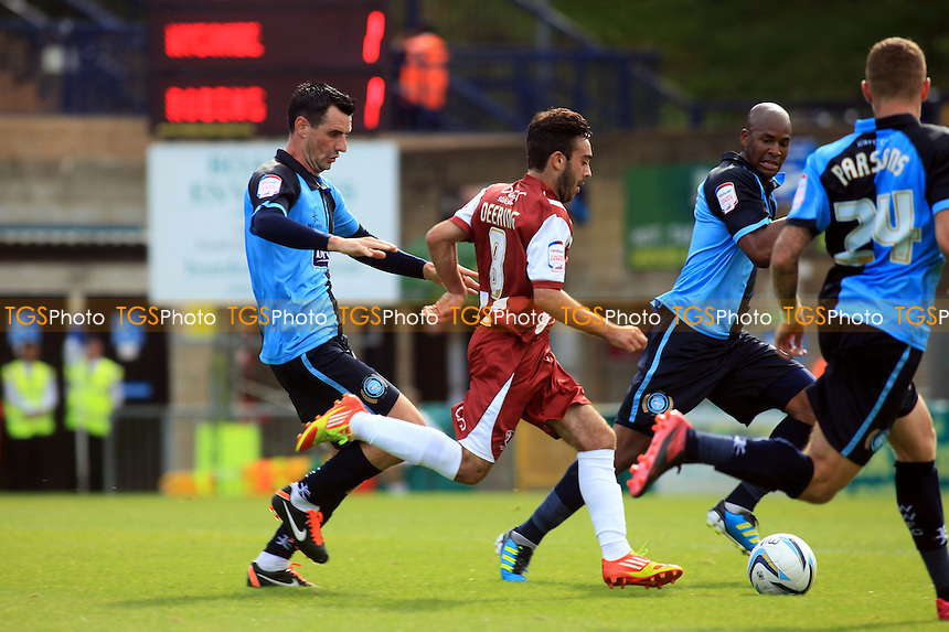 Cheltenham's Sam Deering attacks the Wycombe defence - Wycombe Wanderers vs Cheltenham Town - NPower League Two Football at Adams Park, High Wycombe - 08/09/12 - MANDATORY CREDIT: Paul Dennis/TGSPHOTO - Self billing applies where appropriate - 0845 094 6026 - contact@tgsphoto.co.uk - NO UNPAID USE.