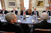 Incoming White House chief of staff Reince Priebus(3-L) is joined by Formers White House Chief of Staff including Andrew Card , William Daily (L) , Samuel Knox Skinner (2-L) and Rahm Emanuel (2-R) during a meeting in the Chief of Staff office of the White House in Washington, DC, December 16, 2016.  <br /> Credit: Olivier Douliery / Pool via CNP
