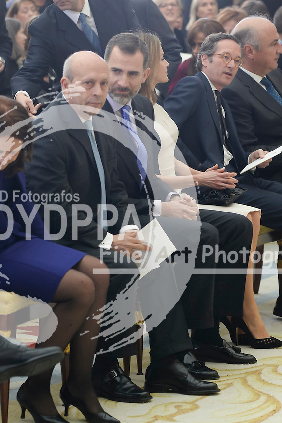 The Kings of Spain, Felipe and Letizia, attend the delivery of the National Culture awards at the Palace of El Pardo, Madrid, Spain. February 16, 2015. In the image: King Felipe, Queen Letizia and Spanish Culture Minister Jose Ignacio Wert.  (C) Ivan L. Naughty / DyD Fotografos