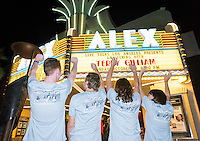 """Terry Gilliam-shirt students, from left to right, in front of marquee:<br /> Sam Page '19, Jackson Beck '18, Brita Loeb '16, Maddy Farkas '16.<br /> Live Talks Los Angeles presents """"An Evening with Terry Gilliam"""" at the Alex Theater in Glendale, Oct. 19, 2015. Gilliam '62 discussed his 'Pre-posthumous Memoir' """"Gilliamesque"""" with host Sam Rubin '82.<br /> Gilliam is a screenwriter, director, animator, actor, and member of the Monty Python comedy troupe.<br /> (Photo by Marc Campos, Occidental College Photographer)"""