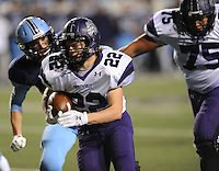 NWA Democrat-Gazette/ANDY SHUPE<br /> Luke Rapert of Fayetteville carries the ball through the Har-Ber defense Saturday, Dec. 5, 2015, during the first half of the Class 7A state championship game at War Memorial Stadium in Little Rock. Visit nwadg.com/photos to see more photographs from the game.