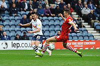 Preston North End's David Nugent crosses the ball through Barnsley's Aapo Halme's legs<br /> <br /> Photographer Kevin Barnes/CameraSport<br /> <br /> The EFL Sky Bet Championship - Preston North End v Barnsley - Saturday 5th October 2019 - Deepdale Stadium - Preston<br /> <br /> World Copyright © 2019 CameraSport. All rights reserved. 43 Linden Ave. Countesthorpe. Leicester. England. LE8 5PG - Tel: +44 (0) 116 277 4147 - admin@camerasport.com - www.camerasport.com