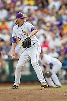 LSU Tigers pitcher Hunter Newman (55) winds up against the TCU Horned Frogs in the NCAA College World Series on June 14, 2015 at TD Ameritrade Park in Omaha, Nebraska. TCU defeated LSU 10-3. (Andrew Woolley/Four Seam Images)