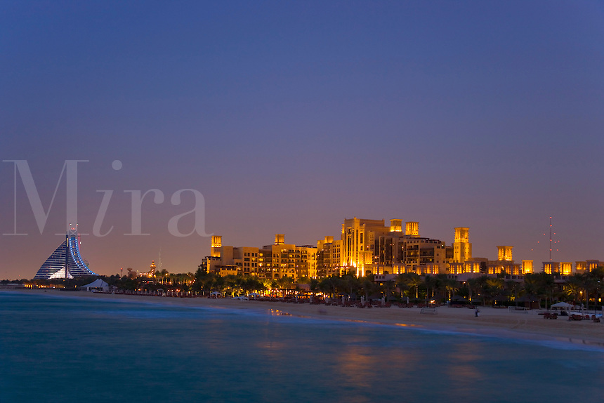 Dubai.  Evening view of the Madinat Jumeirah, Jumeirah Beach Hotel and Mina a?Salam Hotel on Jumeirah Beach. .