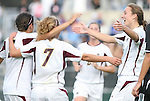05 November 2008: Boston College's Brooke Knowlton (r) is mobbed by teammates after scoring a goal. Boston College defeated Duke University 1-0 at Koka Booth Stadium at WakeMed Soccer Park in Cary, NC in a women's ACC tournament quarterfinal game.