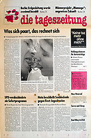 die tageszeitung taz (German daily) on various relationship forms' financial consequences. Bielefeld, Germany, 11.1992.<br /> Photo: Peter Wurm