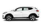 Car Driver side profile view of a 2015 Hyundai Tucson Launch Edition 5 Door Suv Side View