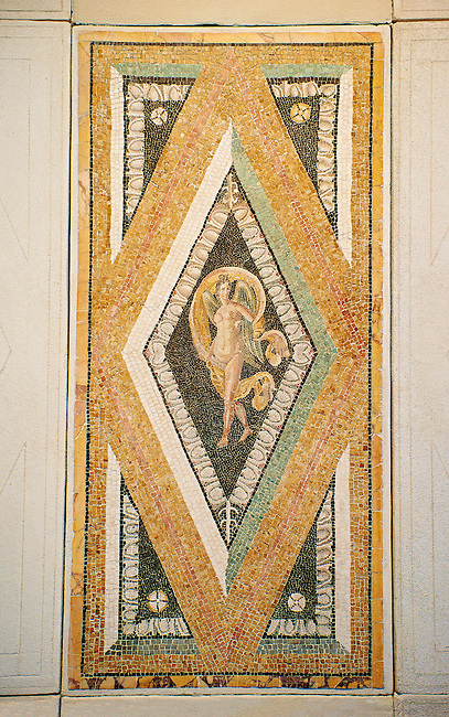 Roman floor mosaic from the  Villa de Ruffinella, Tusculum. End of 1st and beginning of 2nd century AD. National Roman Museum, Rome, Italy