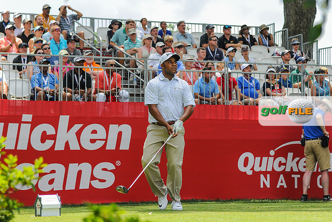 Harold Varner III (USA) watches his tee shot on 1 during round 2 of the 2016 Quicken Loans National, Congressional Country Club, Bethesda, Maryland, USA. 6/24/2016.<br /> Picture: Golffile | Ken Murray<br /> <br /> <br /> All photo usage must carry mandatory copyright credit (&copy; Golffile | Ken Murray)