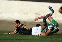 Wellington fullback Buxton Popoali'i scores during the Air NZ Cup preseason match between Manawatu Turbos and Wellington Lions at FMG Stadium, Palmerston North, New Zealand on Friday, 17 July 2009. Photo: Dave Lintott / lintottphoto.co.nz