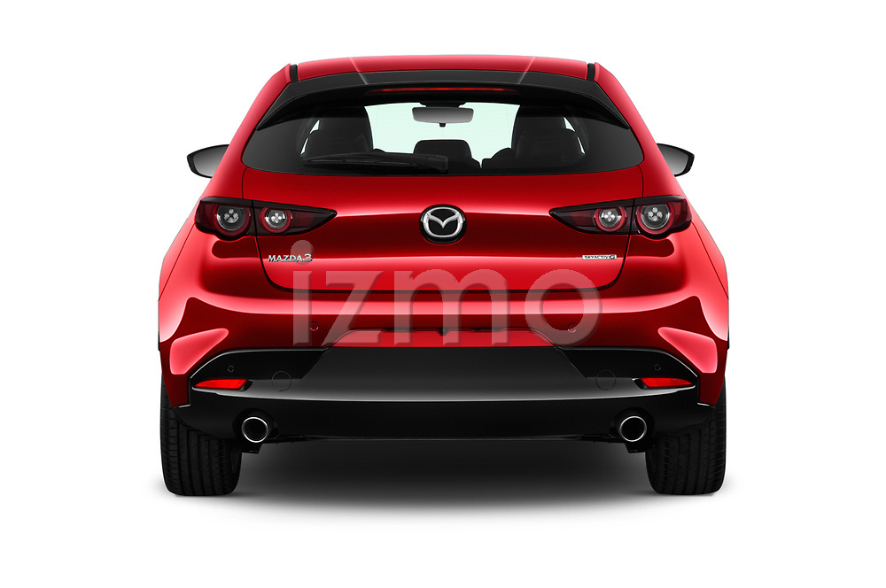Straight rear view of a 2019 Mazda Mazda3 Skycruise 5 Door Hatchback stock images