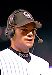 9 September 2006: Jamey Carroll, second baseman for the Colorado Rockies, is interviewed after the game against the Washington Nationals. Carroll went 2 for 3 with 2 RBIs and 3 runs scored as the Rockies defeated the Nationals 9-5 at Coors Field in Denver, Colorado.&amp;#xA;&amp;#xA;Mandatory Photo Credit: Ed Wolfstein.<br />