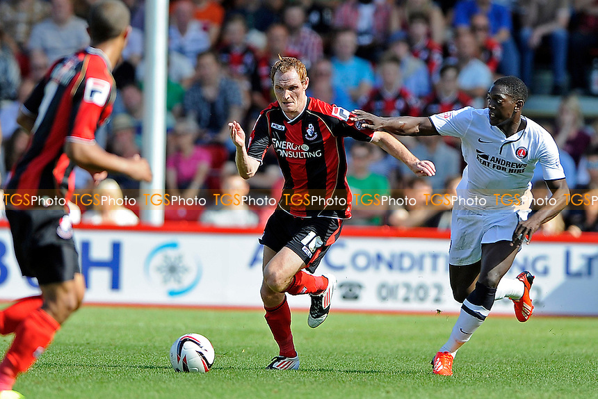 Shaun MacDonald of AFC Bournemouth battles in midfield - AFC Bournemouth vs Charlton Athletic - Sky Bet Championship Football at the Goldsands Stadium, Bournemouth, Dorset - 03/08/13 - MANDATORY CREDIT: Denis Murphy/TGSPHOTO - Self billing applies where appropriate - 0845 094 6026 - contact@tgsphoto.co.uk - NO UNPAID USE
