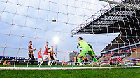 Bradford City's Tyler French scores an own goal, off a free kick taken by Lincoln City's Jorge Grant, scoring Lincoln City's first goal of the game<br /> <br /> Photographer Chris Vaughan/CameraSport<br /> <br /> Carabao Cup Second Round Northern Section - Bradford City v Lincoln City - Tuesday 15th September 2020 - Valley Parade - Bradford<br />  <br /> World Copyright © 2020 CameraSport. All rights reserved. 43 Linden Ave. Countesthorpe. Leicester. England. LE8 5PG - Tel: +44 (0) 116 277 4147 - admin@camerasport.com - www.camerasport.com