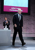 Washington, D.C. - June 2, 2008 -- United States Senator John McCain (Republican of Arizona), the presumptive 2008 Republican nominee for President of the United States, walks to the podium to speak at the American Israel Public Affairs Committee (AIPAC) annual Policy Conference in Washington, D.C. on Monday, June 2, 2008.  In his remarks, Senator McCain reaffirmed his solid support for the State of Israel..Credit: Ron Sachs / CNP