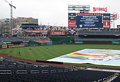 New York Yankees players brave the falling rain after their game against the Washington Nationals game at Nationals Park in Washington, DC was postponed due to rain on Wednesday, May 16, 2018.  The two games, one to complete the game from yesterday and the one scheduled for today will be played on Monday, June 18, 2018.<br /> Credit: Ron Sachs / CNP<br /> (RESTRICTION: NO New York or New Jersey Newspapers or newspapers within a 75 mile radius of New York City)