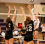 SIOUX FALLS, SD - SEPTEMBER 23: Aubrey Milne #7 from University of Sioux Falls looks to get a kill between Alex Opperman #16 and Elizabeth Gebhardt #12 from Wayne State Tuesday night at the Stewart Center.  (Photo by Dave Eggen/Inertia)